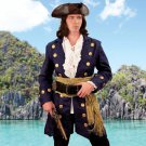 Buccaneer Wool Pirate Coat - Navy, Large