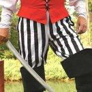 Cotton Drawstring Pirate Pants - Black & White Stripe, L/XL