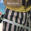 Cotton Drawstring Pirate Pants - Grey & Black Stripe, S/M