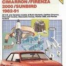 Chilton Cavalier Skyhawk Cimarron Firenza Sunbird 1982-1991 USA  Canadian Models Repair SC Book