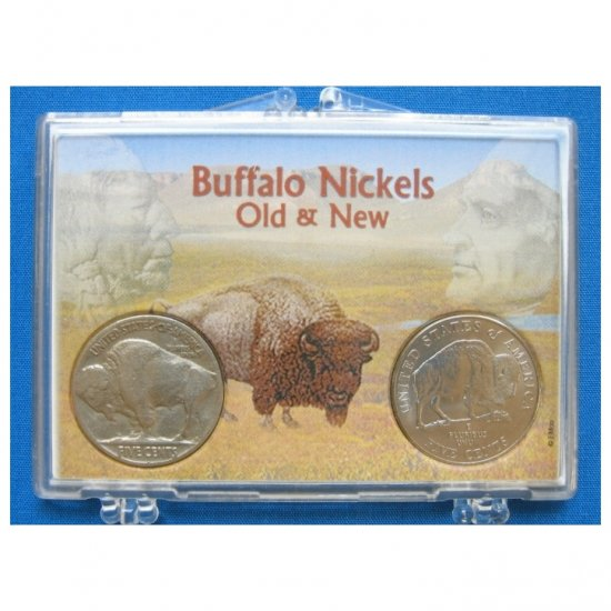 "VINTAGE BUFFALO NICKEL AND UNCIRCULATED 2005 BISON NICKEL IN A ""BUFFALO NICKELS OLD & NEW"" HOLDER"