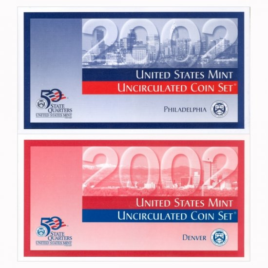 2002 US MINT SET - BRILLIANT UNCIRCULATED 20 COIN P&D SET - ORIGINAL GOVERNMENT PACKAGING