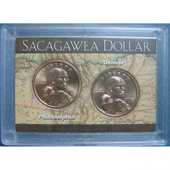 SACAGAWEA GOLDEN DOLLAR TWO COIN SET - 2005-P 2005-D BU FROM MINT ROLLS - IN HARRIS HOLDER