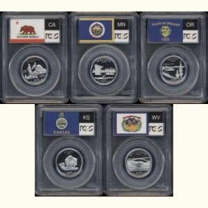 2005-S 2005S CLAD STATE QUARTER FLAG SET PCGS PR69 DCAM PF69 DC - FREE PRIORITY MAIL AND INSURANCE
