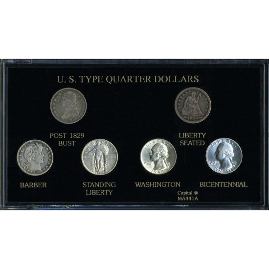 SILVER QUARTER TYPE SET: CAPPED BUST SEATED LIBERTY BARBER STANDING LIBERTY WASHINGTON BICENTENNIAL