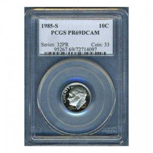 1985-S 1985S ROOSEVELT DIME CERTFIFIED PCGS PR69 DCAM PF69 UC