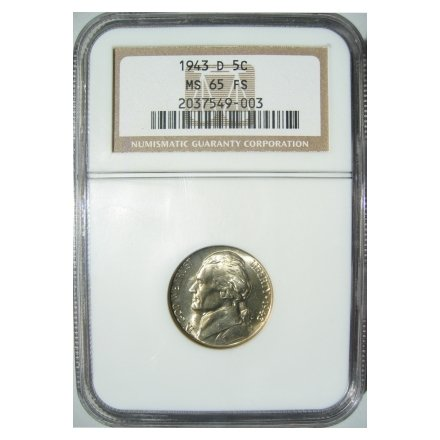 JEFFERSON NICKEL 1943-D 1943D CERTFIFIED NGC MS65 FS - 5 1/2 FULL STEPS - 35% SILVER WARTIME ALLOY