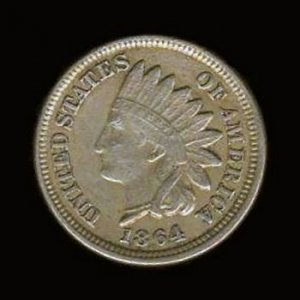 1864 INDIAN HEAD CENT - COPPER-NICKEL CN - VF30 DETAILS - VF20 NET - FREE SHIPPING & INSURANCE