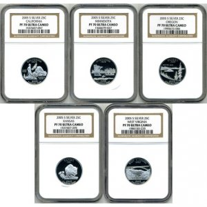 2005-S 2005S SILVER STATE QUARTER SET NGC PF70 UC PR70 DCAM - FREE PRIORITY MAIL AND INSURANCE