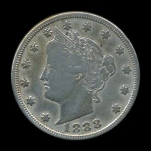 "1888 LIBERTY HEAD ""V"" NICKEL - SEMI-KEY DATE - VF DETAILS - F NET"