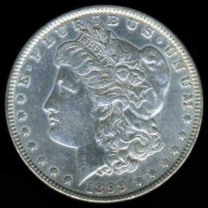 1899 MORGAN DOLLAR - 90% SILVER - AU50 DETAILS - XF40 NET - SEMI-KEY DATE - INCLUDES INSURED MAIL