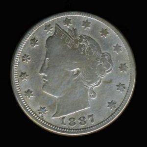 """1887 LIBERTY HEAD """"V"""" NICKEL - SEMI-KEY DATE - F12 - FINE"""
