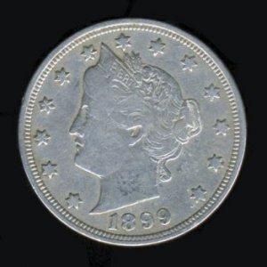 "1899 LIBERTY HEAD ""V"" NICKEL - F15 - FINE PLUS"