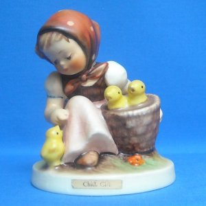 "HUMMEL ""CHICK GIRL"" FIGURINE - MOLD 57/0 - TMK3 - 3.5 INCHES"