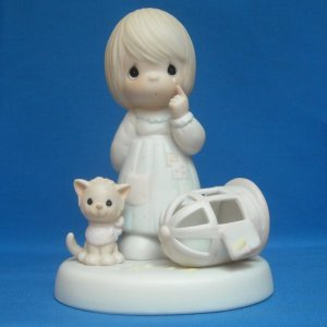 "PRECIOUS MOMENTS FIGURINE - ""THE LORD GIVETH AND THE LORD TAKETH AWAY"" - CEDAR TREE MARK - 1987"