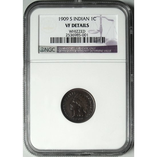 1909-S 1909S INDIAN HEAD CENT - KEY DATE - VF	DETAILS - NGC CERTIFIED - REGISTERED MAIL INCLUDED