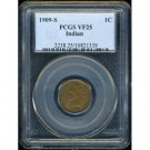 1909-S 1909S INDIAN HEAD CENT - KEY DATE - VF25 - PCGS CERTIFIED - FREE INSURED REGISTERED MAIL