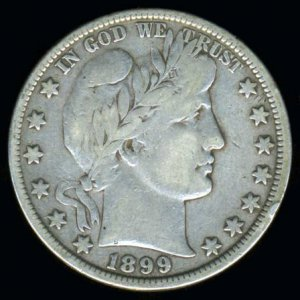 1899 BARBER HALF DOLLAR - 90% SILVER - VG10