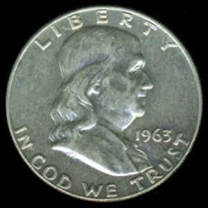 1963-D 1963D FRANKLIN HALF DOLLAR - 90% SILVER - LAST YEAR OF ISSUE - XF