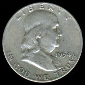 1954-D 1954D FRANKLIN HALF DOLLAR - 90% SILVER - F