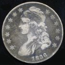 1836 CAPPED BUST HALF DOLLAR - 90% SILVER - F12 - FINE - FREE SHIPPING & INSURANCE