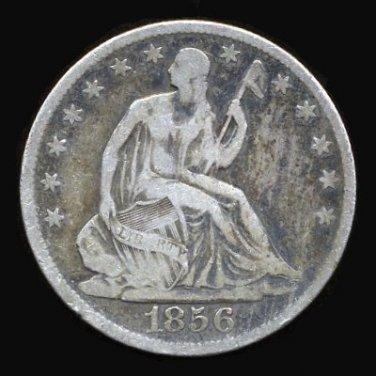 1856-O 1856O SEATED LIBERTY HALF DOLLAR - 90% SILVER - VG10 - FREE SHIPPING & INSURANCE