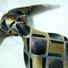 Gold/black check silk tie SW1370