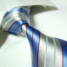 PAUL blue/silver stripe necktie SW959