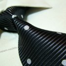 100% silk tie SW2009,black/white dots,extra-long