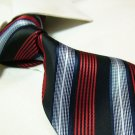 100% polyester tie PL13,red/silver stripe
