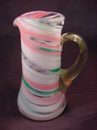 Mini Blown End Day Swirl Marble Glass Pitcher Creamer