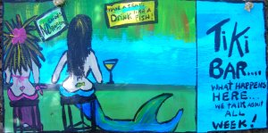 Island Girl and Mermaid at tiki Bar original art by RhondaK Native Florida Folk Artist