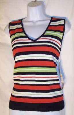 NWT Jones New York black striped knit tank shell top S $59