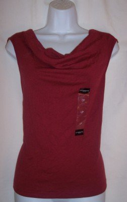 NEW Liz Claiborne red sleeveless drape collar tank top PL L