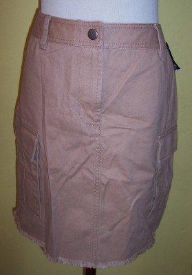 NWT INC camel khaki cargo pocket frayed raw hem skirt 8