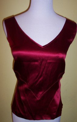 NWT Jones New York garnet red double v-neck silk shell 10 $59