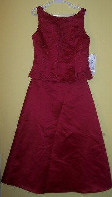 NWT Jessica McClintock burgundy red 2pc skirt set 10