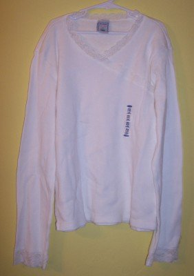 NWT Old Navy white faux wrap w/lace long sleeve shirt top XXL 16 XL