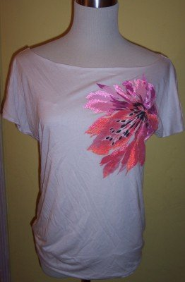 NWT Liz Claiborne off white slit sleeves floral banded shirt top M $49