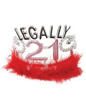 Legally 21 tiara w/marabou