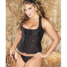 Brocade Racerback Corset w/Hook & Eye Closure, Adjustable Lace-Up Back & G-String Black 40