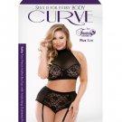 Curve Katia Halter Bra w/Gartered Panties Black 1X/2X