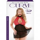 Curve Valentina Flocked Heart Halter Keyhole Front Babydoll w/Panty Black/Red 1X/2X