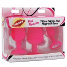 Pink Pleasure 3pc Silicone Anal Plugs w/Gems