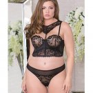 Lace, Mesh & Microfiber Bra w/Removable Choker, Padded, Underwire Cups, Boning & Thong Black 2X