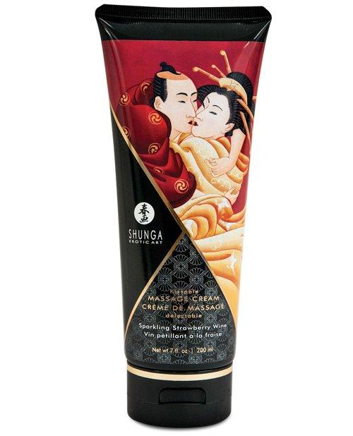 Shunga Kissable Massage Cream - 7 oz Sparkling Strawberry Wine