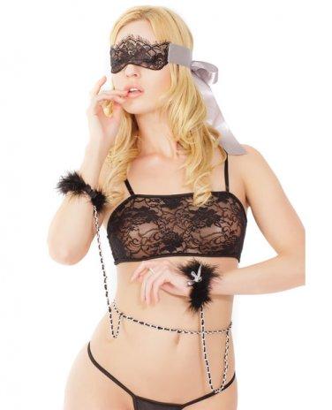 Chain Belt w/Attached Faux Fur Cuffs & Lace Mask Black/Silver O/S