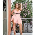 Microfiber & Lace Babydoll w/Padded Cups, Adjustable Straps, Removable Bow, Thong Pink/Black 3X/4X