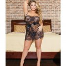 Eyelash Lace Mini Babydoll w/Adjustable Straps & Removable Belt & G-String Black QN