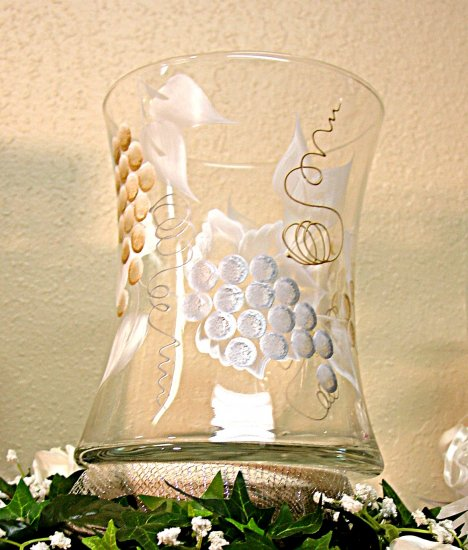 Tuscan Vineyard ~ Hand-painted Hourglass Wine/Champagne Cooler ~ Wedding